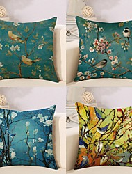 cheap -4 pcs Cotton / Linen Pillow Cover, Botanical Special Design Cartoon Pastoral Throw Pillow