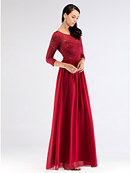 cheap -A-Line Bateau Neck Floor Length Chiffon / Lace Bridesmaid Dress with Pleats