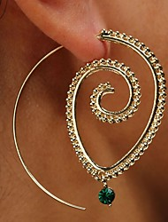 cheap -Women's Crystal Ear Piercing Hoop Earrings Geometrical Classic Vintage Elegant Earrings Jewelry Gold / Silver For Party Ceremony Bar 1 Pair