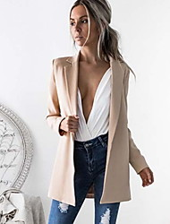 cheap -Women's Blazer Shawl Lapel Polyester Black / Khaki / Slim