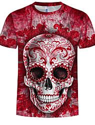 cheap -Men's Plus Size Cotton T-shirt - 3D / Skull Print Round Neck Wine
