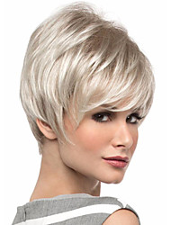 cheap -Synthetic Wig kinky Straight Natural Straight Pixie Cut Wig Ombre Short Brown / White Synthetic Hair 8 inch Women's Simple Synthetic Color Gradient Ombre / African American Wig / Doll Wig
