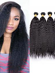 Недорогие -4 Связки Перуанские волосы Естественные прямые Необработанные натуральные волосы 200 g Человека ткет Волосы Пучок волос Накладки из натуральных волос 8-28inch Естественный цвет Ткет человеческих волос