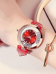 cheap -Women's Quartz Watches Quartz Stylish Casual Water Resistant / Waterproof PU Leather Black / White / Red Analog - White Black Purple / Imitation Diamond