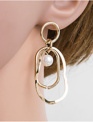 cheap -Women's Multicolor Pearl Drop Earrings Braided European Hammered Pearl Gold Plated Earrings Jewelry Gold For Daily 1 Pair