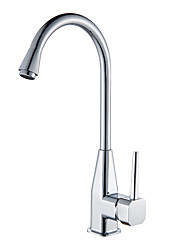 cheap -Kitchen faucet - Single Handle One Hole Chrome Tall / ­High Arc Deck Mounted Contemporary Kitchen Taps