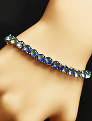 cheap -Women's Blue AAA Cubic Zirconia Chain Bracelet Tennis Chain Rainbow Baroque Trendy Casual / Sporty Fashion Rhinestone Bracelet Jewelry Blue / Rainbow For Wedding Daily Engagement Festival