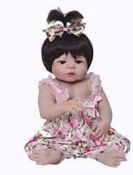 Недорогие -Куклы реборн Девочки 22 дюймовый Полный силикон для тела - Дети / подростки Детские Универсальные Игрушки Подарок