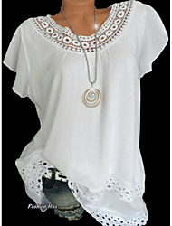cheap -Women's T-shirt - Solid Colored Lace / Hollow Out / Fashion White / Spring / Summer / Fall