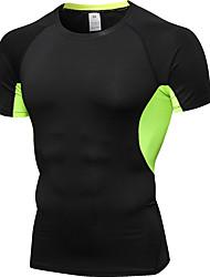 abordables -UABRAV Homme Col Ras du Cou Mosaïque Chemise de Compression Mode Elasthanne Fitness Entraînement de gym Sous Vêtement Vêtements de Compression / Sous maillot Manches Courtes Tenues de Sport