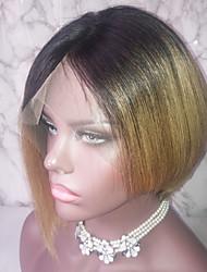 Недорогие -Не подвергавшиеся окрашиванию человеческие волосы Remy 13x6 Тип замка Лента спереди Парик Стрижка каскад Средняя часть Боковая часть стиль Бразильские волосы Прямой Естественный прямой Разноцветный