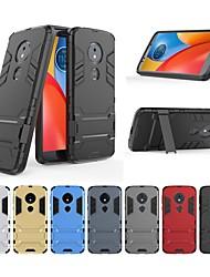 Недорогие -Кейс для Назначение Motorola Moto E5 Защита от удара / со стендом Кейс на заднюю панель Однотонный / броня Твердый ПК