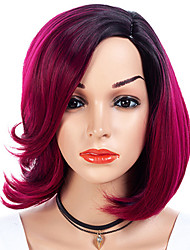 cheap -Synthetic Wig kinky Straight Side Part Wig Medium Length Black / Rose Synthetic Hair 16 inch Women's Fashionable Design Smooth Women Red