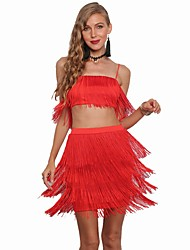 cheap -Charleston Vintage 1920s The Great Gatsby Flapper Dress Women's Feather Costume Black / White / Red Vintage Cosplay Halloween Festival