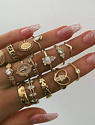 cheap -Women's Statement Ring Ring Set Midi Ring Synthetic Opal 15pcs Gold Imitation Diamond Alloy Oval Statement Bohemian Party Daily Jewelry Coin Cross Heart Star Cute