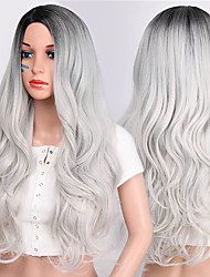 cheap -Cosplay Wig Wavy Body Wave Middle Part Wig Ombre Long Ombre Color Synthetic Hair 24 inch Women's Party Synthetic Easy dressing Gray Ombre