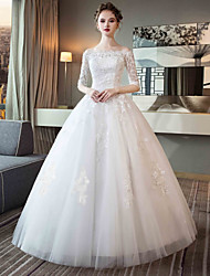 cheap -Ball Gown Off Shoulder Maxi Tulle / Lace Over Satin Half Sleeve Made-To-Measure Wedding Dresses with Lace 2020 / Bell Sleeve