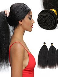 cheap -3 Bundles Indian Hair Yaki Remy Human Hair Unprocessed Human Hair Natural Color Hair Weaves / Hair Bulk Extension Bundle Hair 8-28 inch Natural Color Human Hair Weaves Gift Women Man Weave Human Hair