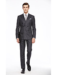cheap -Custom Suits Dark-Gray Checkered Standard Fit Wool Suit - Peak Double Breasted Six-buttons