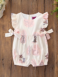 cheap -Baby Girls' Active / Basic Print Bow / Animal Pattern / Printing Sleeveless Cotton Romper Beige / Toddler