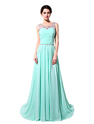 cheap -A-Line Jewel Neck Sweep / Brush Train Chiffon Cute Formal Evening Dress 2020 with Beading / Sequin