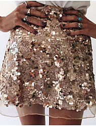 cheap -Women's Streetwear Mini Skirts Solid Colored Sequins