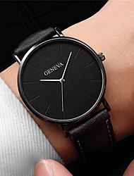 cheap -Men's Dress Watch Quartz Leather Black / Brown Casual Watch Analog Fashion Minimalist Simple watch - Golden+White Rose Gold Black / Rose Gold One Year Battery Life