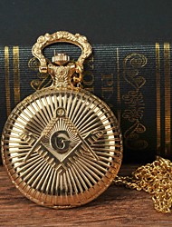 cheap -Men's Pocket Watch Quartz Gold Casual Watch Large Dial Analog Fashion Word Watch - Golden