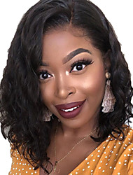 cheap -Human Hair Lace Front Wig Bob Short Bob Side Part style Brazilian Hair Wavy Black Wig 130% Density with Baby Hair Natural Hairline For Black Women 100% Virgin 100% Hand Tied Women's Short Human Hair