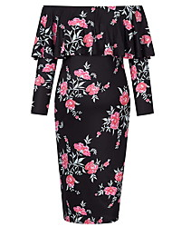 cheap -Women's Midi Maternity Royal Blue Black Dress Sheath Floral Print S M