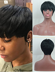cheap -Human Hair Capless Wigs Human Hair Straight / Natural Straight Pixie Cut / Asymmetrical / Short Hairstyles 2019 Fashionable Design / Adjustable / Heat Resistant Black Short Capless Wig Women's