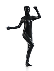 cheap -Shiny Zentai Suits Catsuit Skin Suit Ninja Kid's Adults' Latex Spandex Lycra Cosplay Costumes Cosplay Halloween Women's Black Solid Colored Halloween Carnival Masquerade / High Elasticity