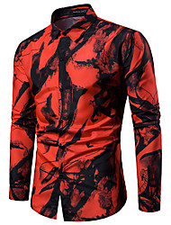cheap -Men's Shirt Tie Dye Graphic Print Tops Basic Street chic Classic Collar White Red / Long Sleeve / Work