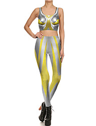 cheap -Catsuit Swimsuit Swimwear Cosplay Costumes Beach Girl Adults' Cotton Cosplay Costumes Cosplay Halloween Women's Yellow Printing Christmas Halloween Carnival / Vest / Pants / Vest / Pants