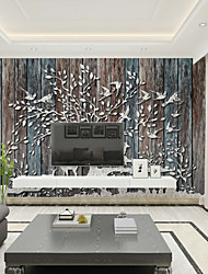 cheap -Wallpaper / Mural / Wall Cloth Canvas Wall Covering - Adhesive required Art Deco / Wood Grain / 3D