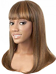 cheap -Synthetic Wig Bangs kinky Straight Free Part Neat Bang Wig Long Brown / Burgundy Synthetic Hair 20 inch Women's Waterfall Fashionable Design Smooth Brown
