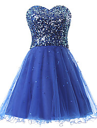 cheap -A-Line Sparkle Blue Homecoming Cocktail Party Dress Sweetheart Neckline Sleeveless Short / Mini Tulle Sequined with Sequin 2020