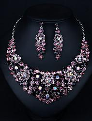 cheap -Women's Cubic Zirconia Drop Earrings Choker Necklace Layered Drop Flower Classic Vintage Elegant Earrings Jewelry Light Purple For Wedding Party Engagement
