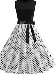 cheap -Women's Basic A Line Dress - Polka Dot Print Blue White Black L XL XXL