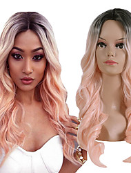 cheap -Synthetic Wig Curly Middle Part Wig Pink Long Black / Pink Synthetic Hair 26 inch Women's Women Synthetic Color Gradient Pink