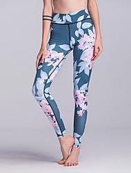 cheap -Women's High Waist Yoga Pants Winter 3D Print Blue Running Fitness Gym Workout Tights Leggings Sport Activewear Moisture Wicking Butt Lift Tummy Control Power Flex High Elasticity Skinny