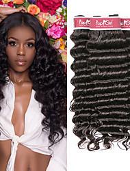 cheap -4 Bundles Brazilian Hair Deep Curly Unprocessed Human Hair 100% Remy Hair Weave Bundles Natural Color Hair Weaves / Hair Bulk Bundle Hair Human Hair Extensions 8-28 inch Natural Color Human Hair