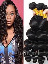 Недорогие -3 Связки Перуанские волосы Свободные волны Необработанные натуральные волосы Головные уборы Человека ткет Волосы Удлинитель 8-28 дюймовый Естественный цвет Ткет человеческих волос Без запаха Sexy