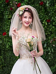 cheap -Two-tier Lace Wedding Veil Shoulder Veils with Dot Lace / Tulle / Drop Veil