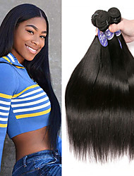cheap -3 Bundles Indian Hair Straight 100% Remy Hair Weave Bundles Headpiece Natural Color Hair Weaves / Hair Bulk Bundle Hair 8-28 inch Natural Color Human Hair Weaves Odor Free Woven Natural Human Hair