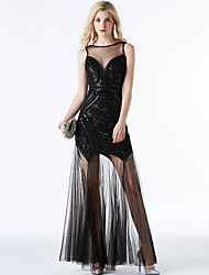 cheap -A-Line Elegant Vintage Inspired Prom Formal Evening Dress Jewel Neck Sleeveless Ankle Length Tulle with Sequin 2020