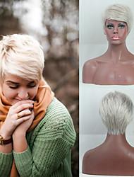 cheap -Human Hair Capless Wigs Human Hair Straight / Natural Straight Pixie Cut / Asymmetrical / Short Hairstyles 2019 Fashionable Design / Adjustable / Heat Resistant Dark Gray Short Capless Wig Women's