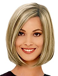 cheap -Synthetic Wig Bangs kinky Straight Bob Side Part Wig Blonde Short Black / Gold Synthetic Hair 14 inch Women's Fashionable Design Smooth Women Blonde