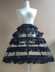 cheap -Bride Classic Lolita 1950s Dress Petticoat Hoop Skirt Crinoline Women's Girls' Chiffon Cotton Costume Black / White Vintage Cosplay Party Performance Princess