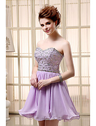 cheap -A-Line Flirty Sparkle Homecoming Cocktail Party Dress Sweetheart Neckline Sleeveless Short / Mini Chiffon with Beading Sequin 2020